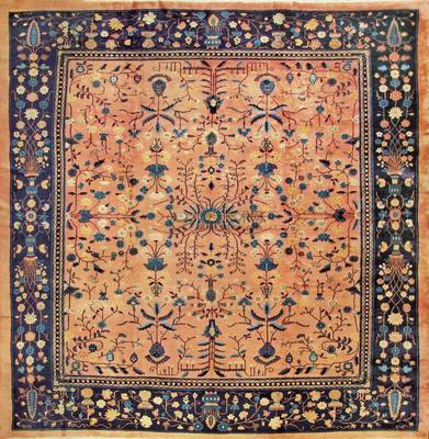 古代龙纹地毯.  元  青花釉里红鸳鸯砚滴.  吉祥寓意图案地毯.