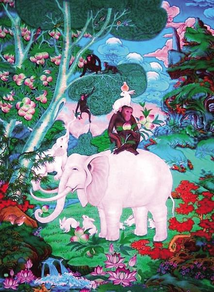 东阳木雕壁画 蟠桃